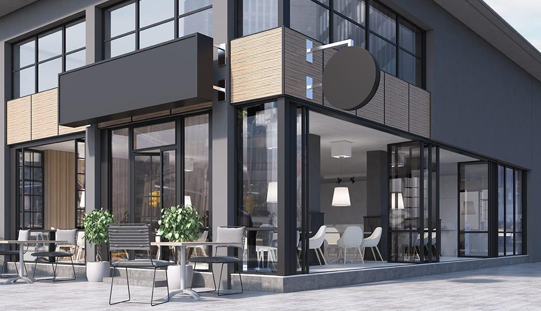 Cửa đi lùa ứng dụng toà nhà văn phòng, cao ốc, chung cư hay quán coffee.
