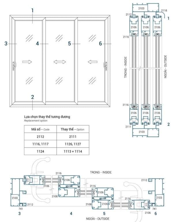 Sơ đồ lắp đặt và mặt cắt cửa đi lùa 3 cánh hệ LV60