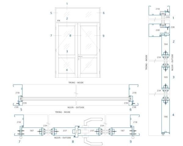Sơ đồ lắp đặt và mặt cắt cửa đi mở hệ LV39