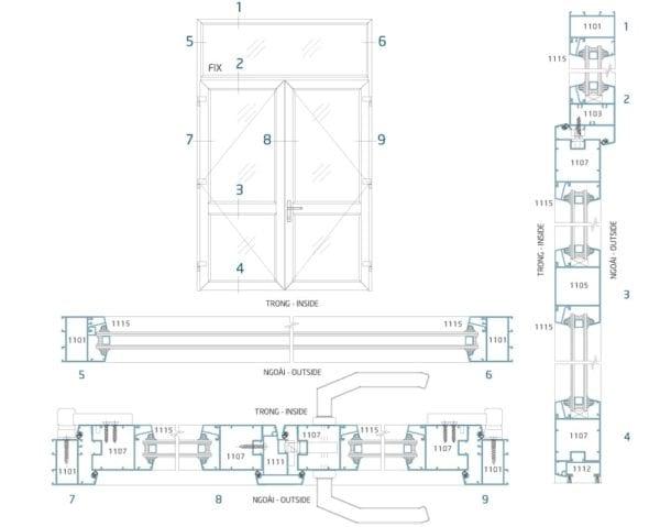 Sơ đồ lắp đặt và mặt cắt cửa đi mở hệ LV60