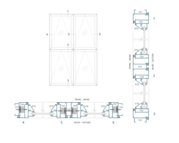 Sơ đồ lắp đặt & mặt cắt cửa sổ bật nhôm kính hệ 38