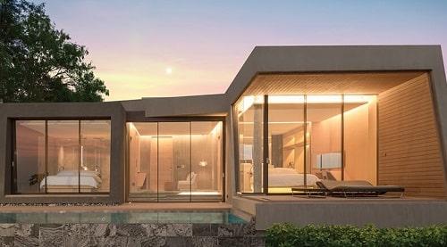 Ngôi nhà được thiết kế, sử dụng nhôm và kính là vật liệu chính