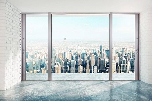Cửa lùa nhôm kính được sử dụng cho tòa cao ốc