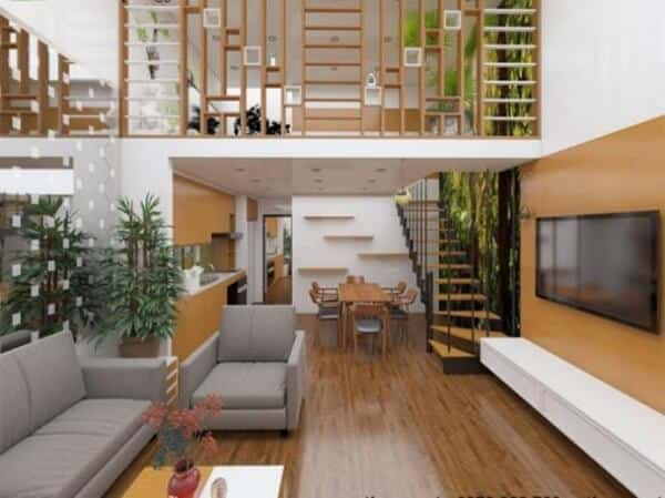 Nhà phố gác lửng mát mẻ hơn nhờ sự bao phủ của cây xanh