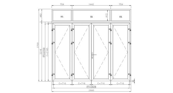 Kích thước cửa 4 cánh